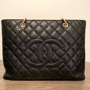 Chanel Black GST tote with Gold Hardware